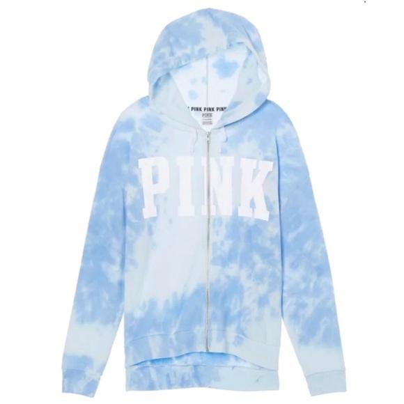 965407fb18793 Victoria's Secret PINK Cloud Tie Dye Blue Hoodie NWT