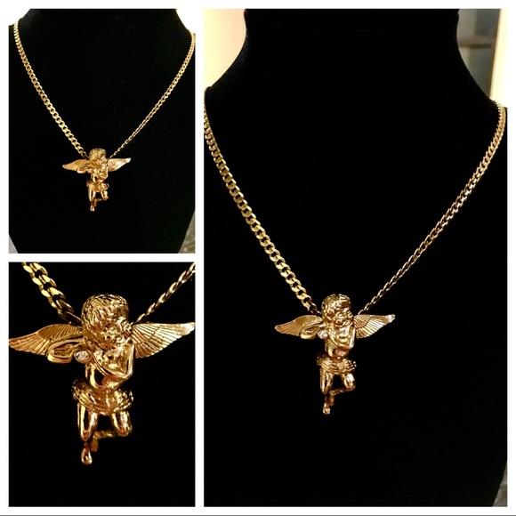 "14K GOLD FILLED LITTLE MINI ANGEL PENDANT 24/""CUBAN CURB CHAIN 7g E841"