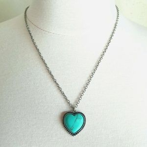 Jewelry - Turquoise & Silver Heart Pendant Boho Necklace