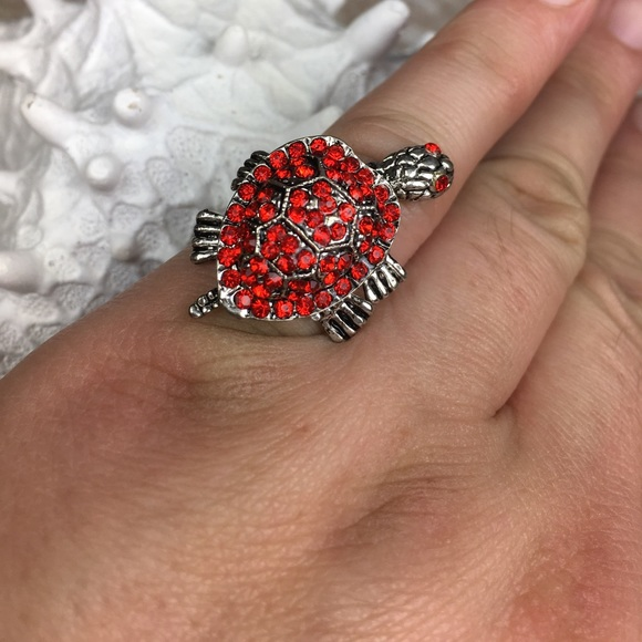 98 jewelry turtle ring with moving from