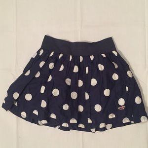 HOLLISTER MINI BOHO SKIRT LINED BLUE Polka Dot
