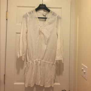 Miguelina NWTS white cotton coverup lace up neck S
