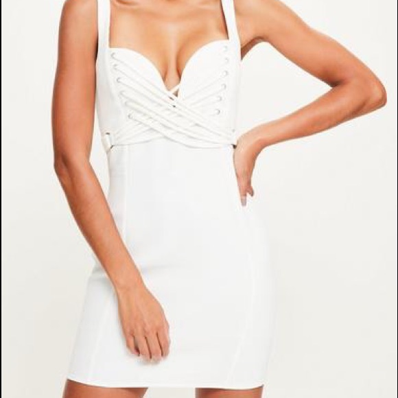 44ebbf2575 Missguided Dresses | White Crepe Sweetheart Strap Detail Bodycon ...