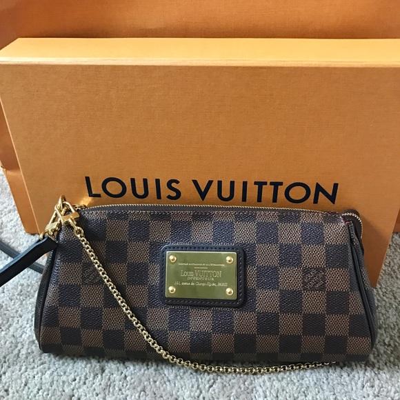 26249aee4837 Louis Vuitton Eva Clutch Crossbody Damier Ebene