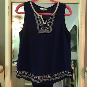 Sheer embroidered tank