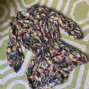 Other - Rainbow tribal print button up 3/4 slv romper