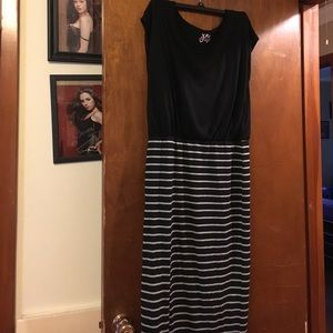 Black top with black and gray striped maxi dress