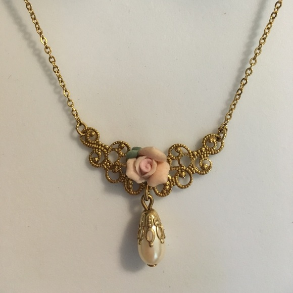 1928 Jewelry Brand Dainty Gold Pearl Pink Rose Necklace