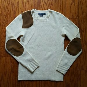 Ralph Lauren wool sweater with suede patches S