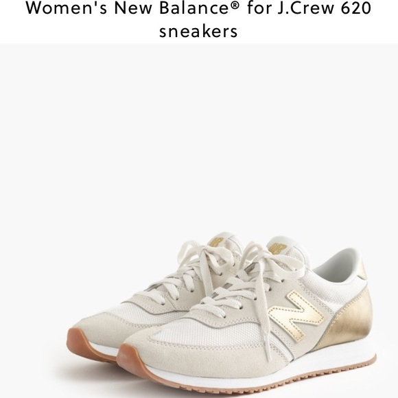 Trendy Women's Sneakers : gold and white new balance