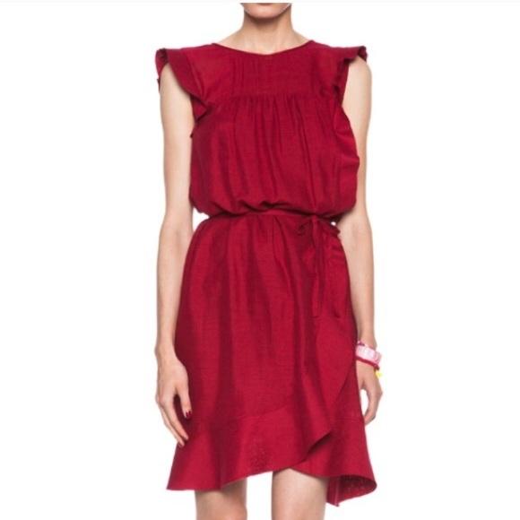 Isabel Marant Dresses & Skirts - Isabel Marant Etoile Red Silk Saba Wrap Dress 38 4
