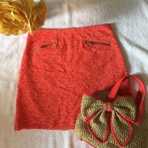 Adorable Coral Lace Skirt NWOT