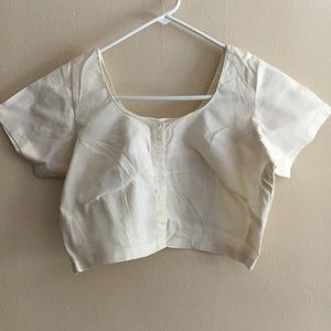 Tops - White cotton Indian sari blouse crop top Medium