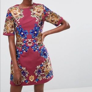 ASOS Premium Embroidered Shift Mini Dress