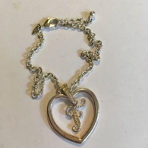 Jewelry - Silver Initial Bracelet Rhinestone Studded Letter