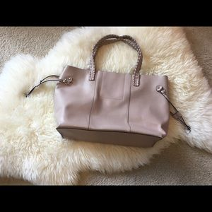 Real leather tote bag pink