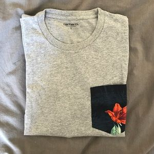 Carhartt grey cotton tee shirt with front pocket