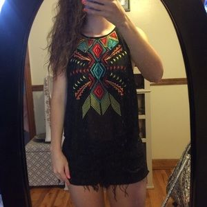 Tops - Tribal embroidered sleeveless blouse