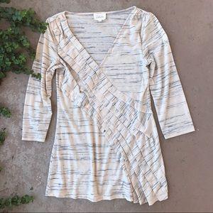 Deletta Anthropologie Cream Heather 3/4 Sleeve Top