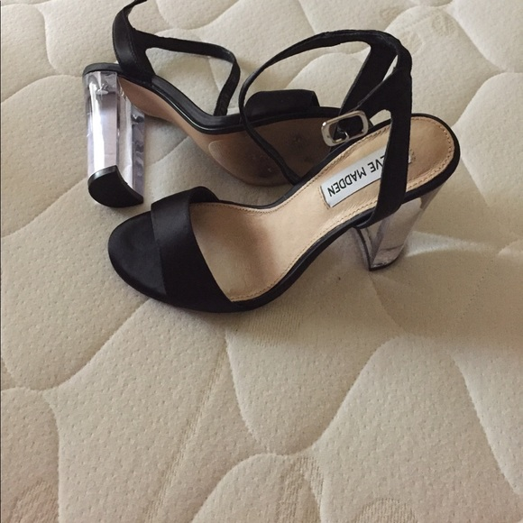 3330a926f3 Steve Madden Shoes | Black Clear Heels | Poshmark