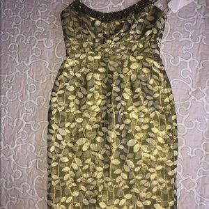 Maggy London petite dress green gold beaded