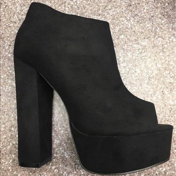 black peep toe platform booties