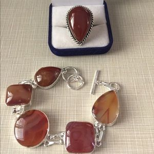 Jewelry - Pretty bostwana agate bracelet and ring set