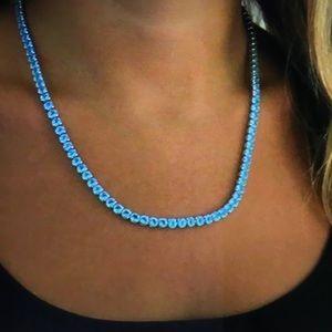 18kt White Gold Plated Aquamarine Necklace