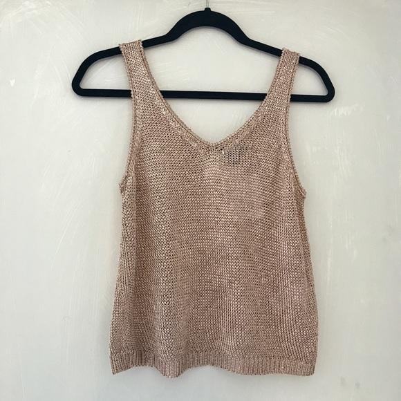 48f264ffeacd0 NWT topshop metallic knit cami top crop v neck 6-8