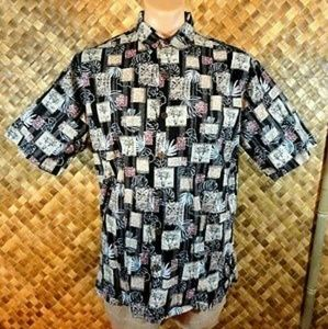 Hilo Hattie mens Hawaiian Palm print shirt. Large