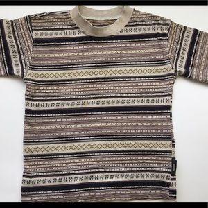 Boy's designer T shirt beige striped sz 8-10
