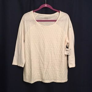 Tops - White blouse 3/4 length sleeves size L
