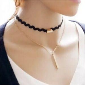Jewelry - 5/$25 black choker multi layer necklace gold