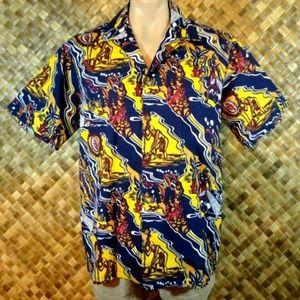 Hilo Hattie mens Hawaiian abstract print shirt. L