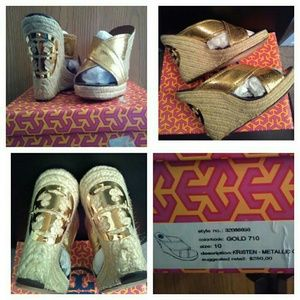 """TODAY!! FABULOUS GOLD """"TORY BURCH"""" KRISTEN WEDGES!"""