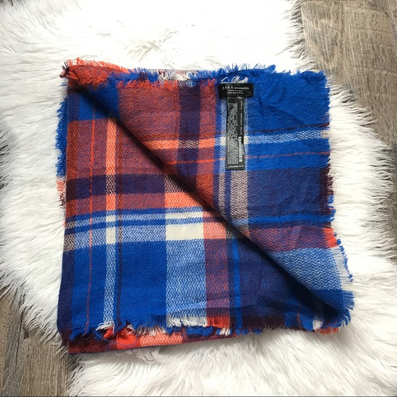 zara zara orange blue plaid blanket scarf from emily 39 s closet on poshmark. Black Bedroom Furniture Sets. Home Design Ideas