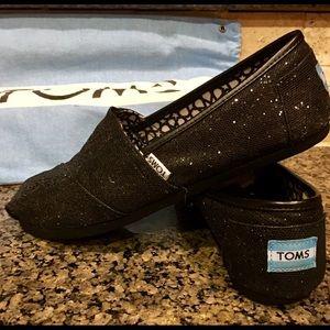 TOM'S Black Glitter Women's Shoes sz 9