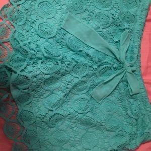 Pants - Teal Lace Shorts