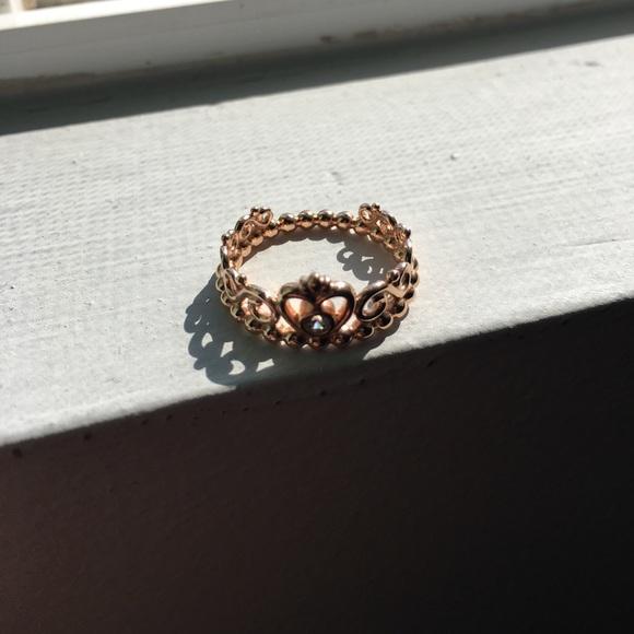 38 off pandora jewelry pandora rose gold crown ring. Black Bedroom Furniture Sets. Home Design Ideas