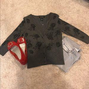 Gray/black floral cardigan
