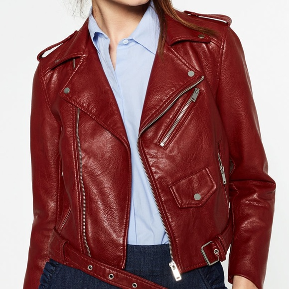 be3db0ce Zara Jackets & Coats | Burgundy Faux Leather Moto Jacket | Poshmark