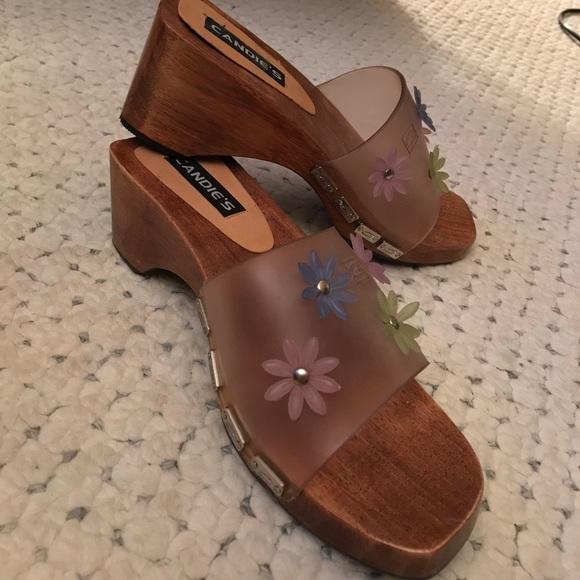 5c6a399b2 Candies Flower NEW Beach BOHO Sandals 8 wood clogs