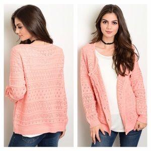 Sweaters - NWT peach knit cardigan