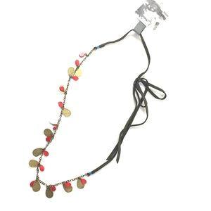 Anthropologie Fluttered Vines Necklace Brass & Red