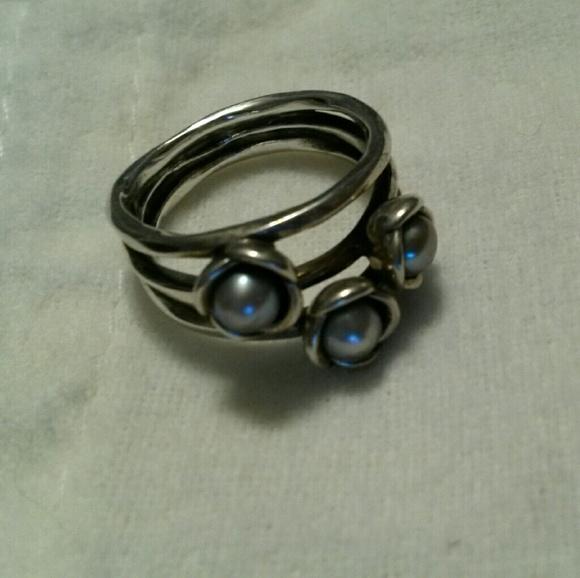 Pandora Grey Pearl Earrings: Discontinued Pandora Triple