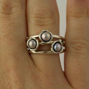 07ad6ea2e ... promo code for pandora jewelry discontinued pandora triple bloom grey  pearl ring 4fd41 0b4fd
