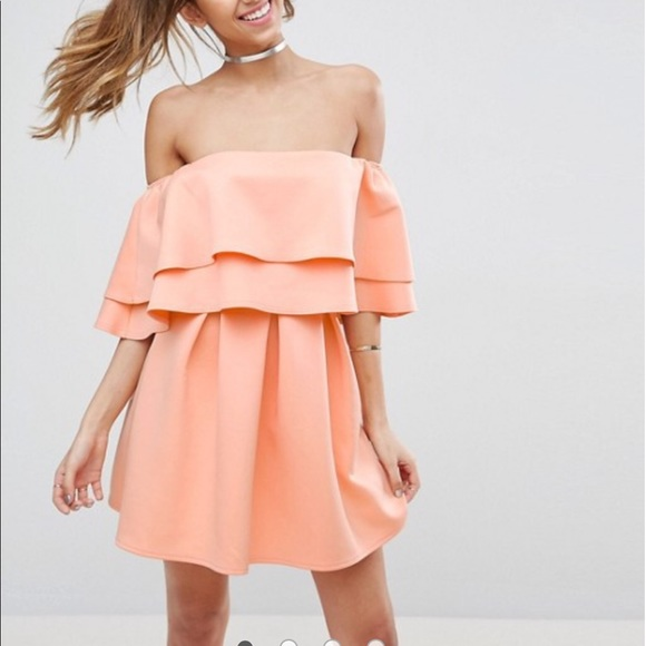 26c303f5dcd5 Asos Dresses   Skirts - Pastel orange off the shoulder dress