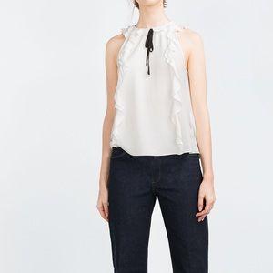 Zara white top with black tie