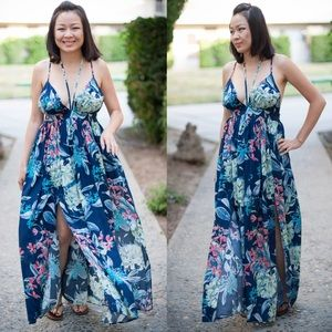 JENN Floral Print Maxi Dress - BLUE