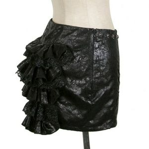 Hot Topic Skirts - NWT Black Leather Ruffle Mini Skirt Steampunk Goth